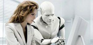 Robô e ser humano trabalhando juntos