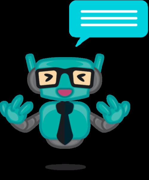 Robô com um balão de mensagem sob a cabeça