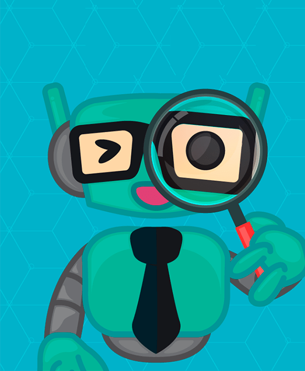 Robô com lupa sob o olho